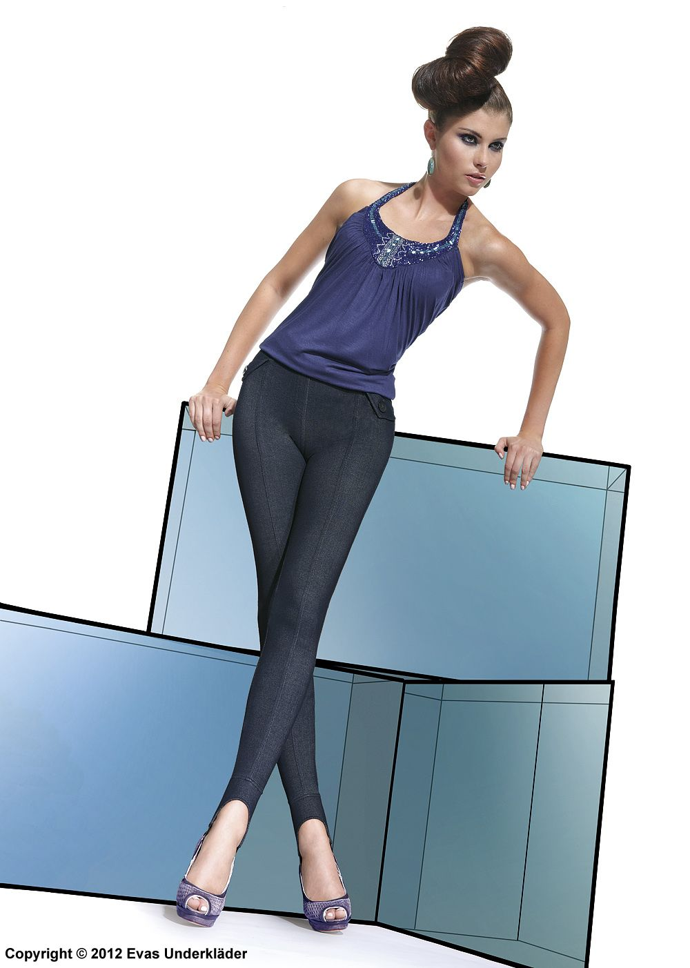 Leggings i jeansmodell, skipants